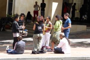 ipiyam y Raspacanilla rehearsing in Bogota streets