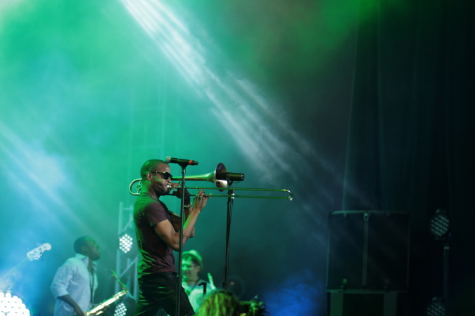 Trombone Shorty & Orleans Avenue live concert - Byron Bay Bluesfest 2015 - Australia